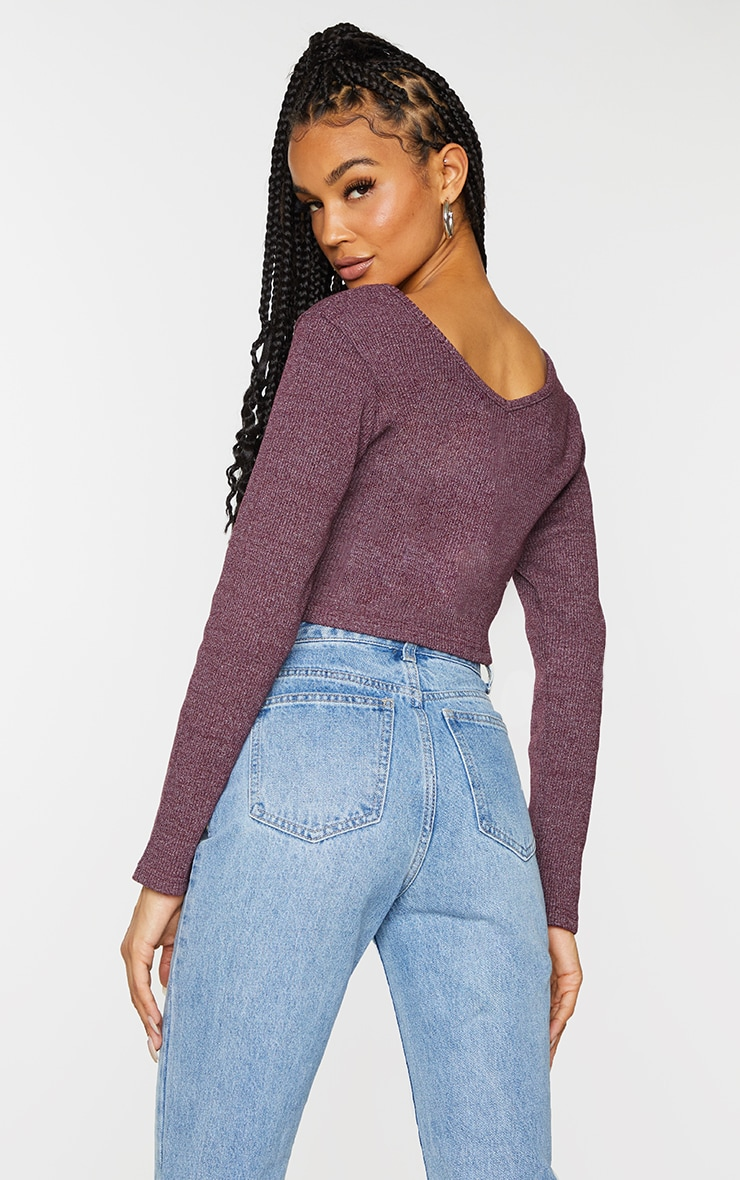 Burgundy Marl Rib Long Sleeve Crop Top 2