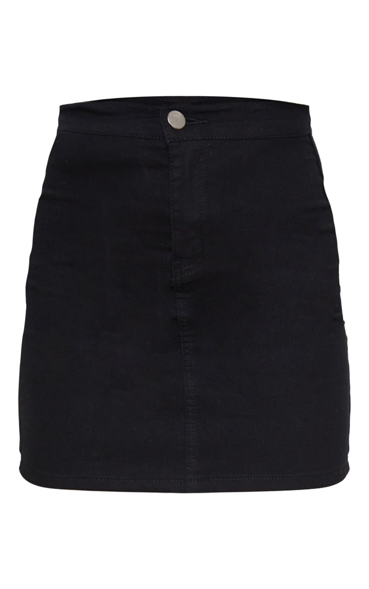 Petite Black Disco Fit Denim Skirt 6