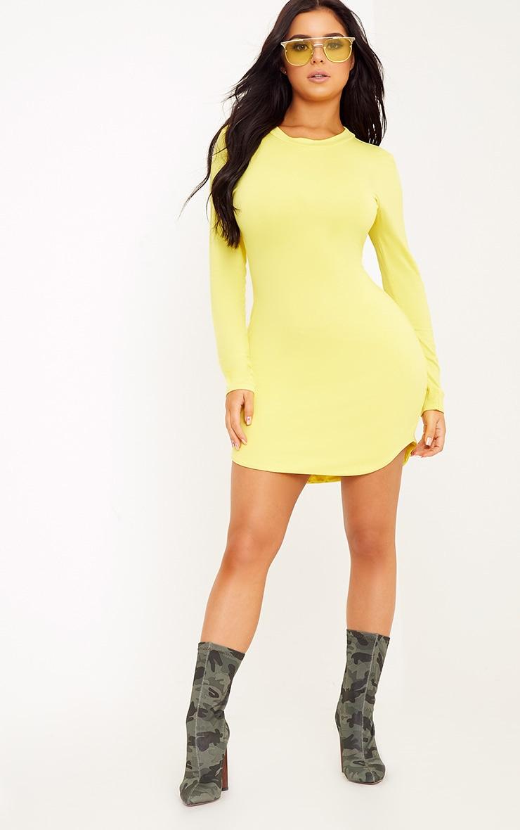 Shape Dionne Yellow Jersey Curve Hem Mini Dress 4