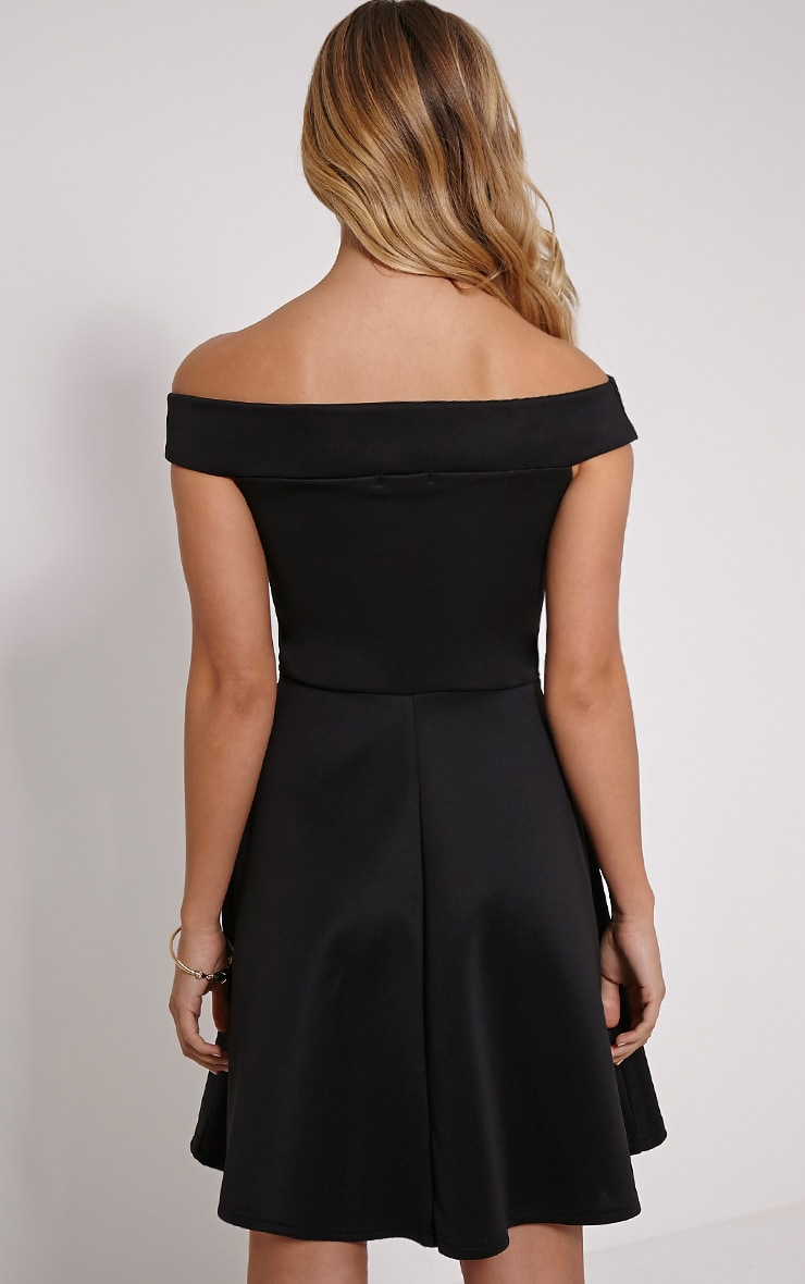 Mona Black Bardot Skater Dress 2