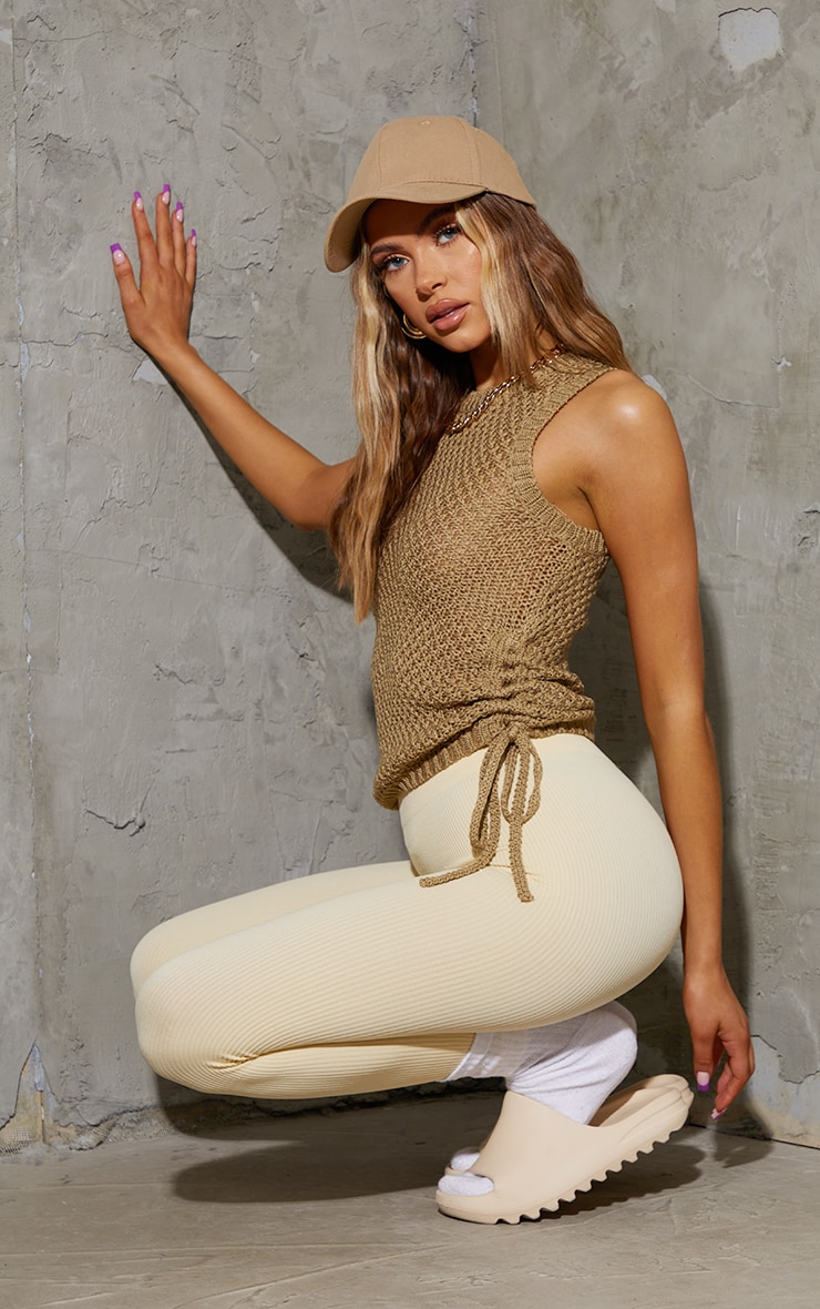 Khaki Tie Side Knitted Waffle Top 3