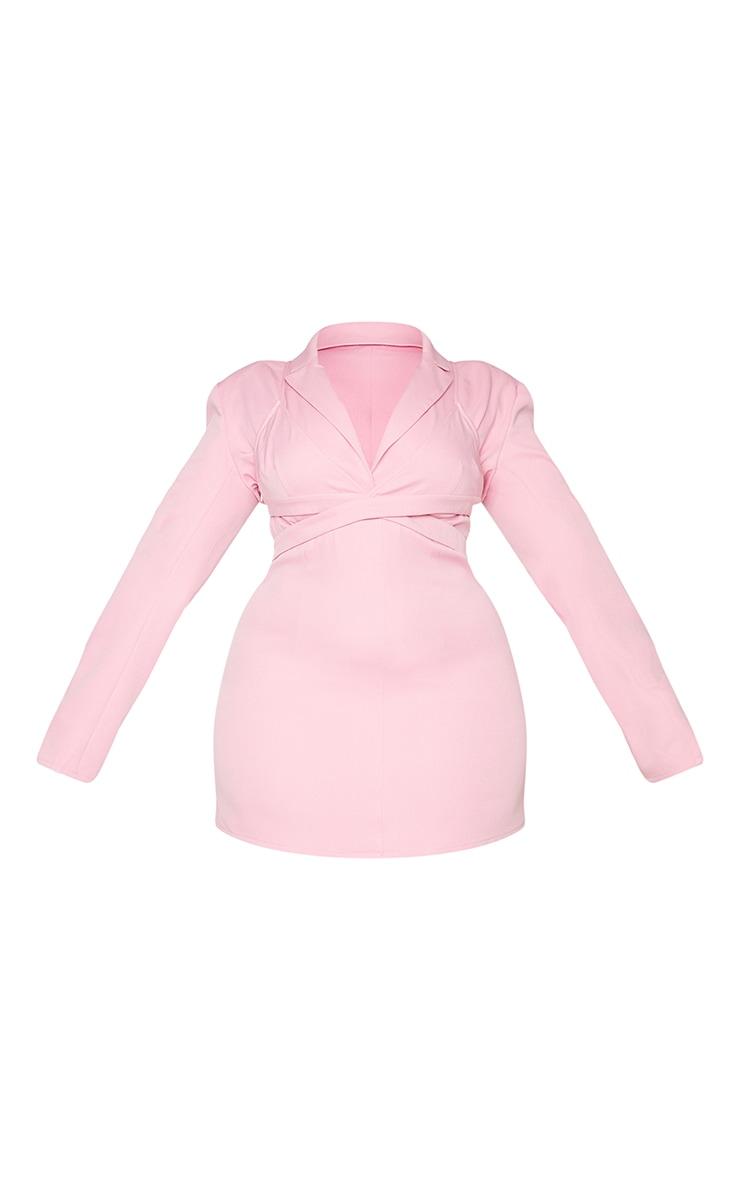 PLT Plus - Robe blazer rose croisée effet superposé 5
