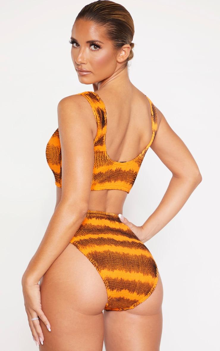 Orange Tie Dye Crinkle Deep Scoop Bikini Top 2