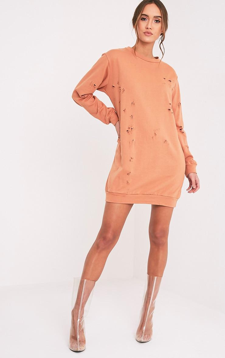 Violet robe pull pêche à manches longues aspect vieilli 1