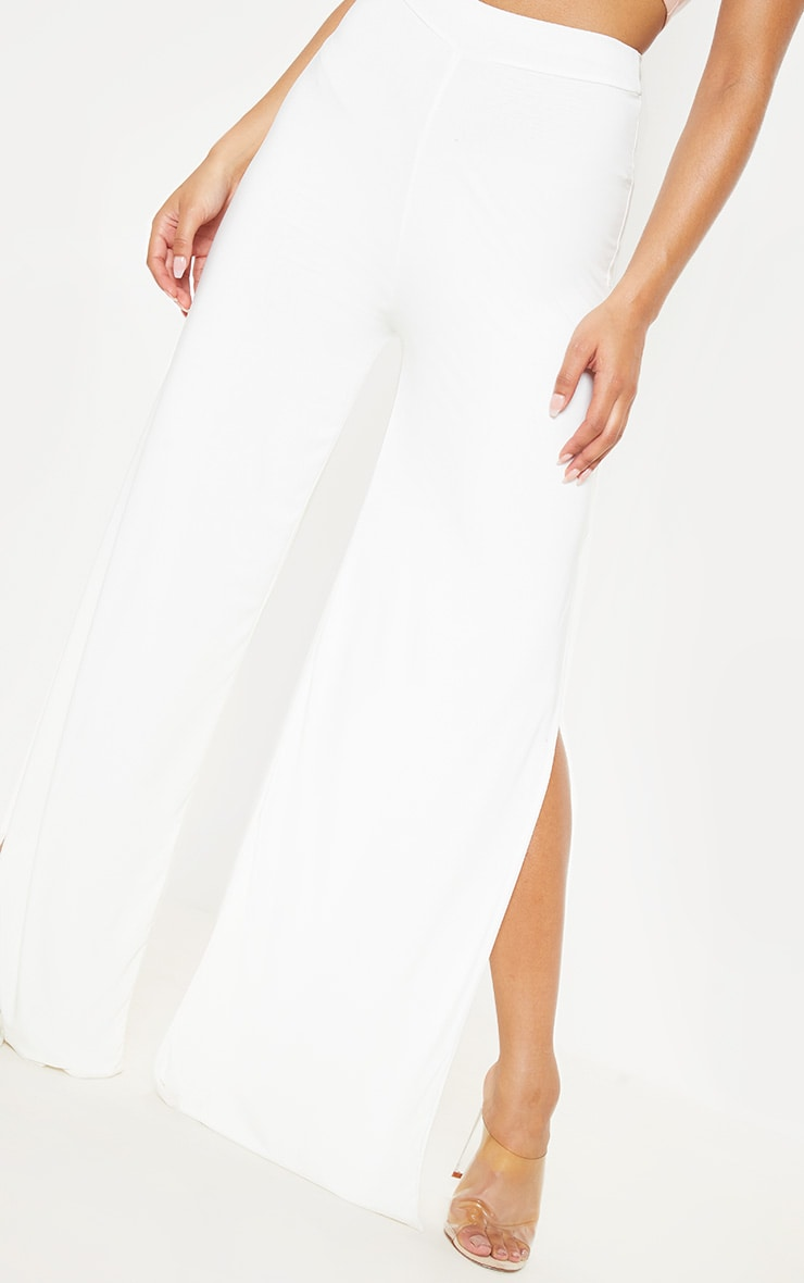 Darsee Cream Side Split Slinky Trousers 5