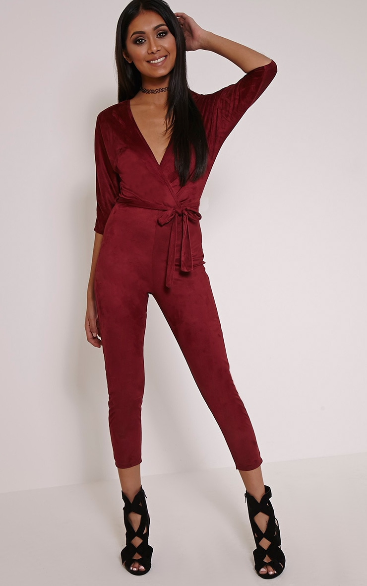 Maira Burgundy Suede Wrap Jumpsuit 1
