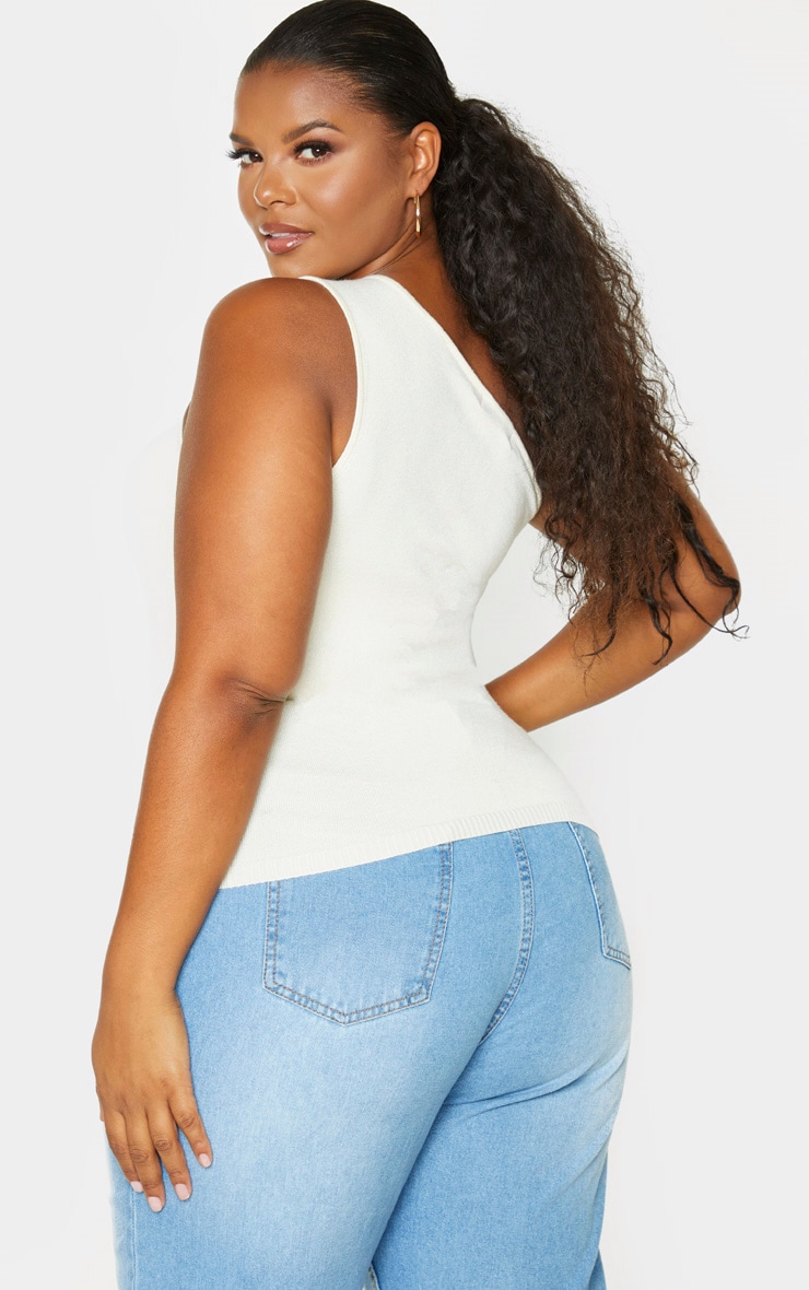 Plus Cream Knitted One Shoulder Top 2