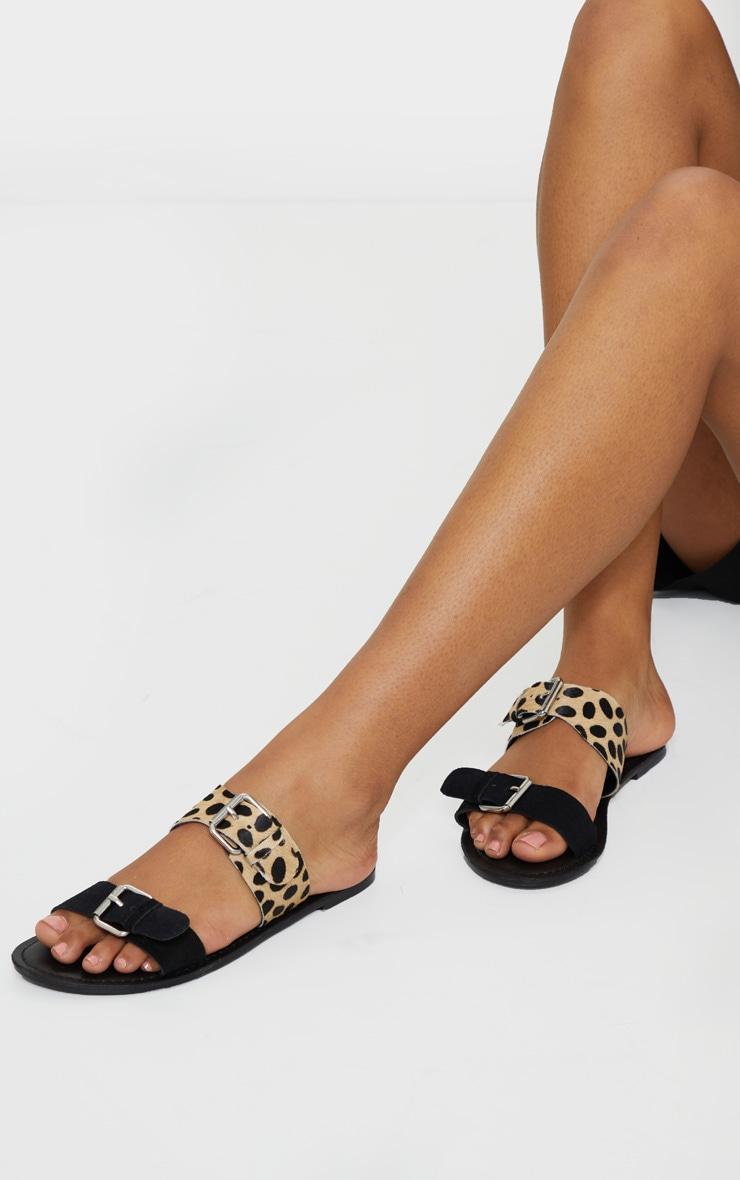 Black Twin Strap Buckle Trim Leather Mule Sandals 2