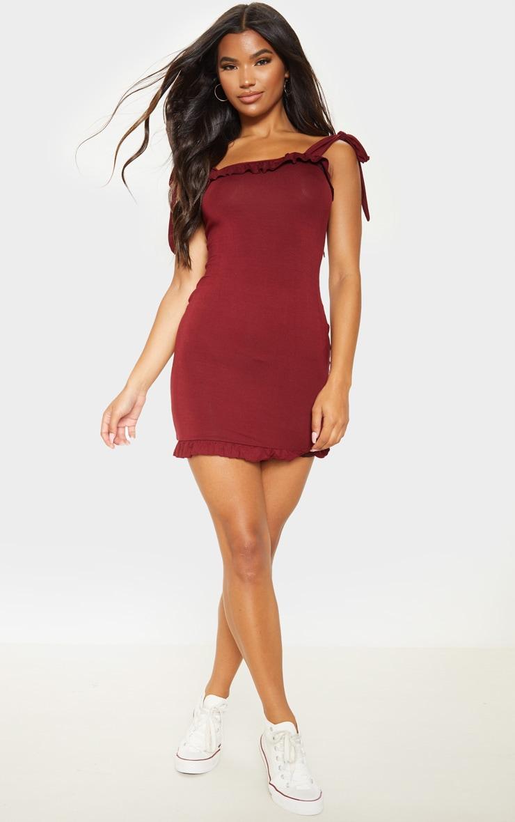 Wine Frill Tie Shoulder Bodycon Dress  4
