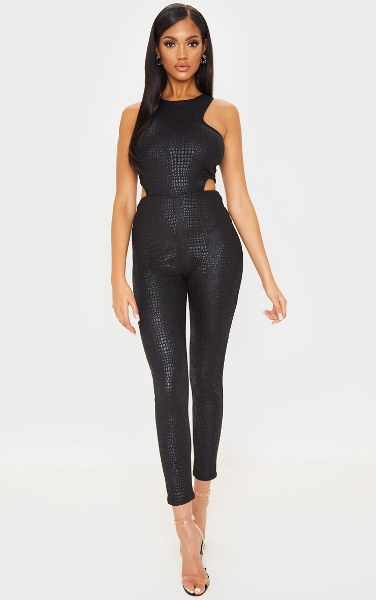 Black Textured Croc Cut Out Jumpsuit 1