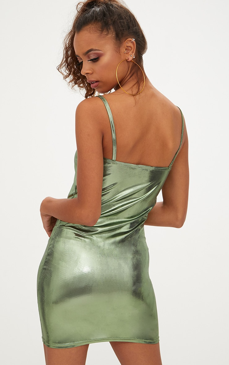 Petite Khaki Square Neck Metallic Mini Dress 2
