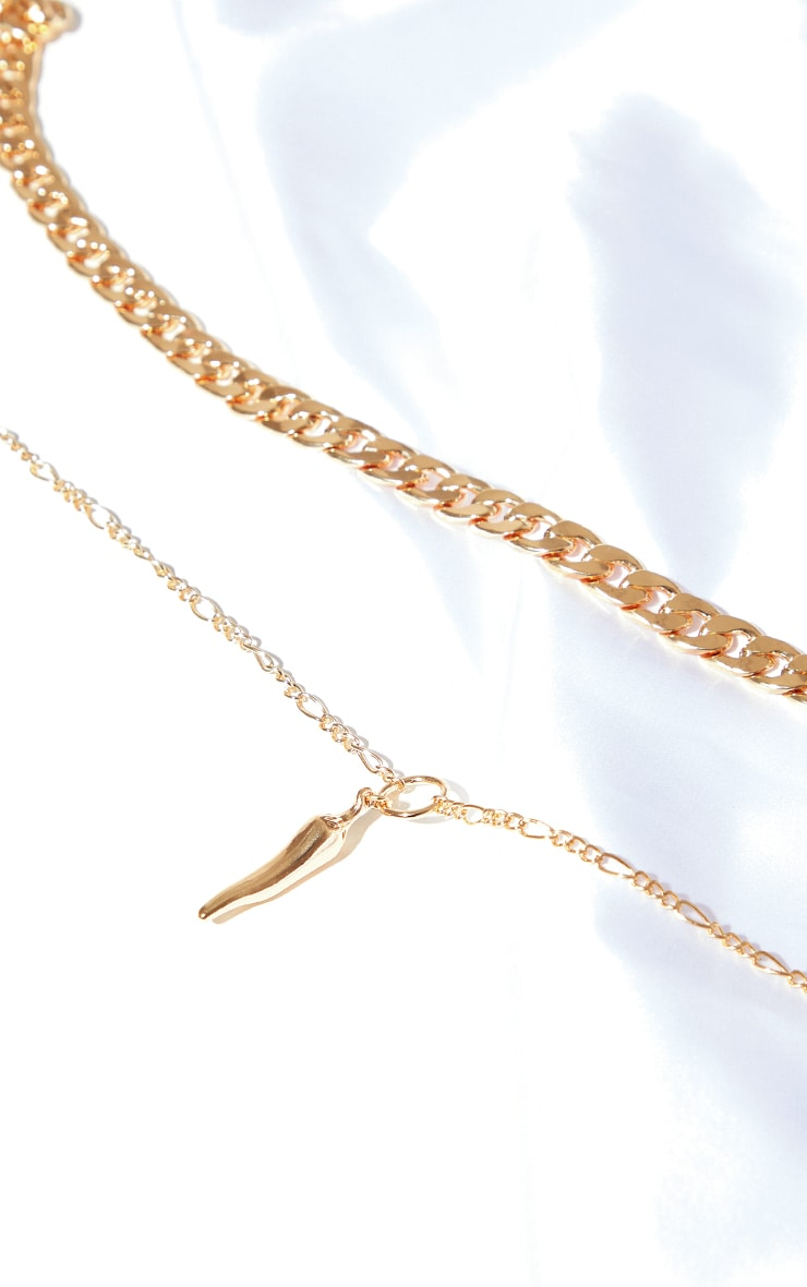 Gold Double Curb Chain Gold Chilli Necklace 3
