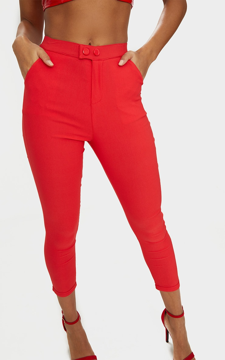 Red High Waisted Jeggings 5