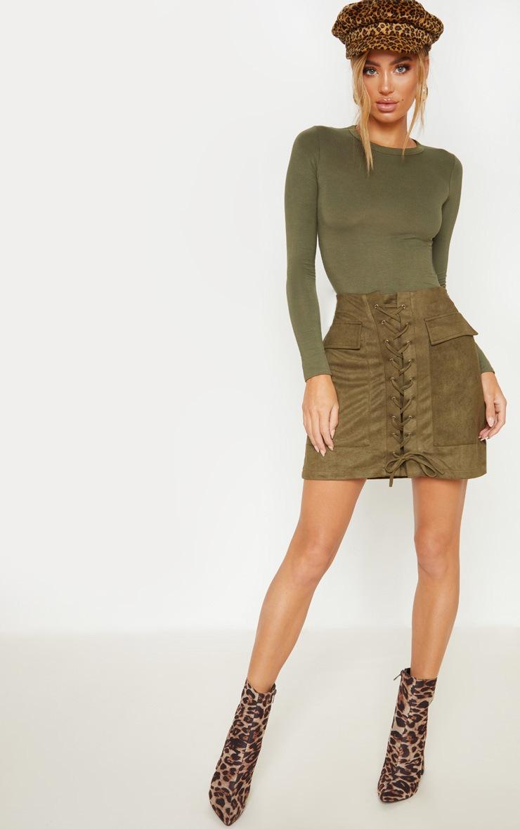 Khaki Faux Suede Lace Up Detail Mini Skirt 5