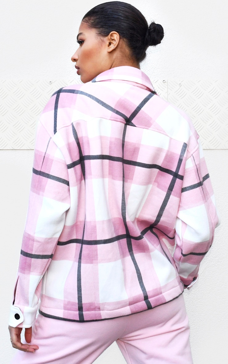 Pink Checked Pocket Front Shacket 2