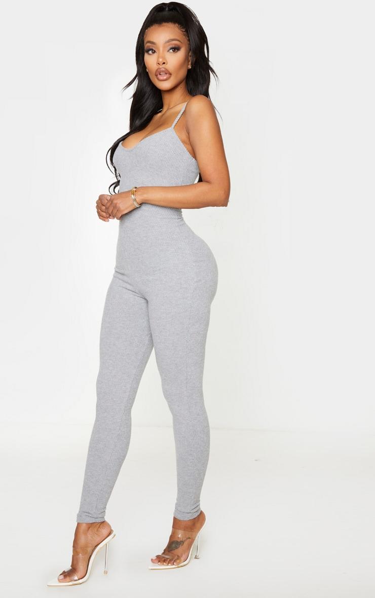 Shape Grey Brushed Rib Strappy Jumpsuit 3