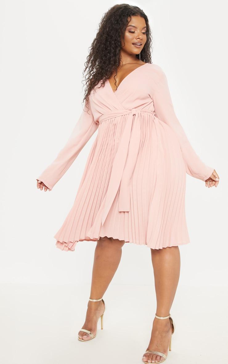 Plus Rose Long Sleeve Pleated Midi Dress 4