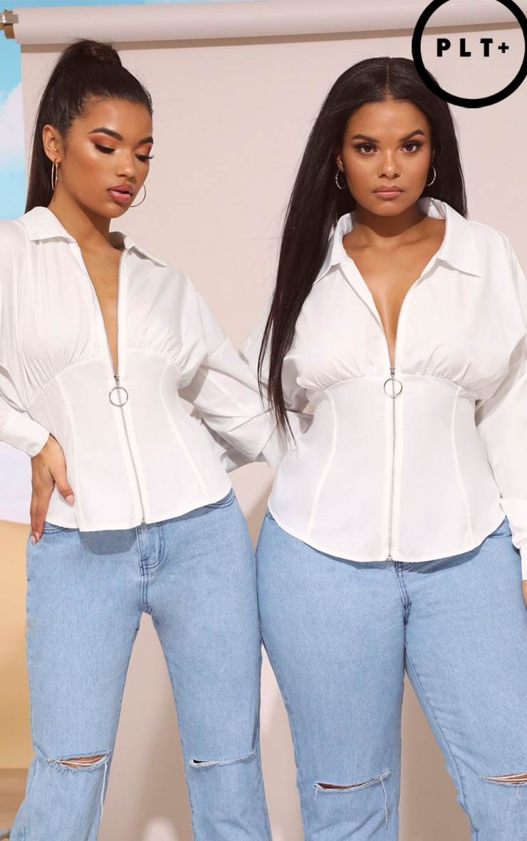 Plus White Zip Corset Detail Shirt 1