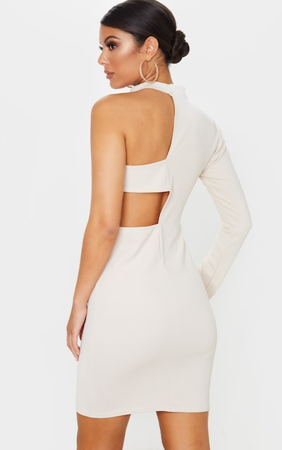 Nude High Neck One Shoulder Cut Out Bodycon Dress