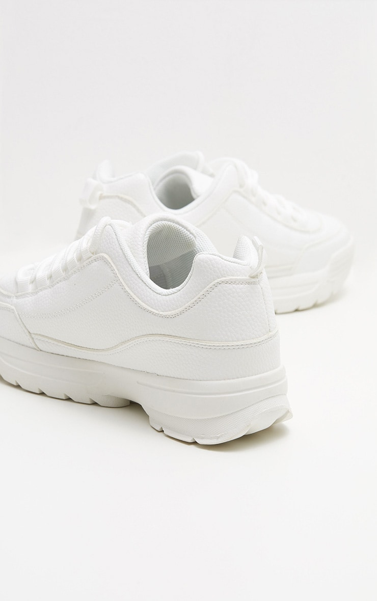White Chunky Cleated Sole Sneakers 4
