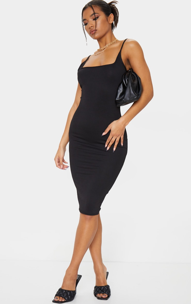 Black Square Neck Strappy Midi Dress 3
