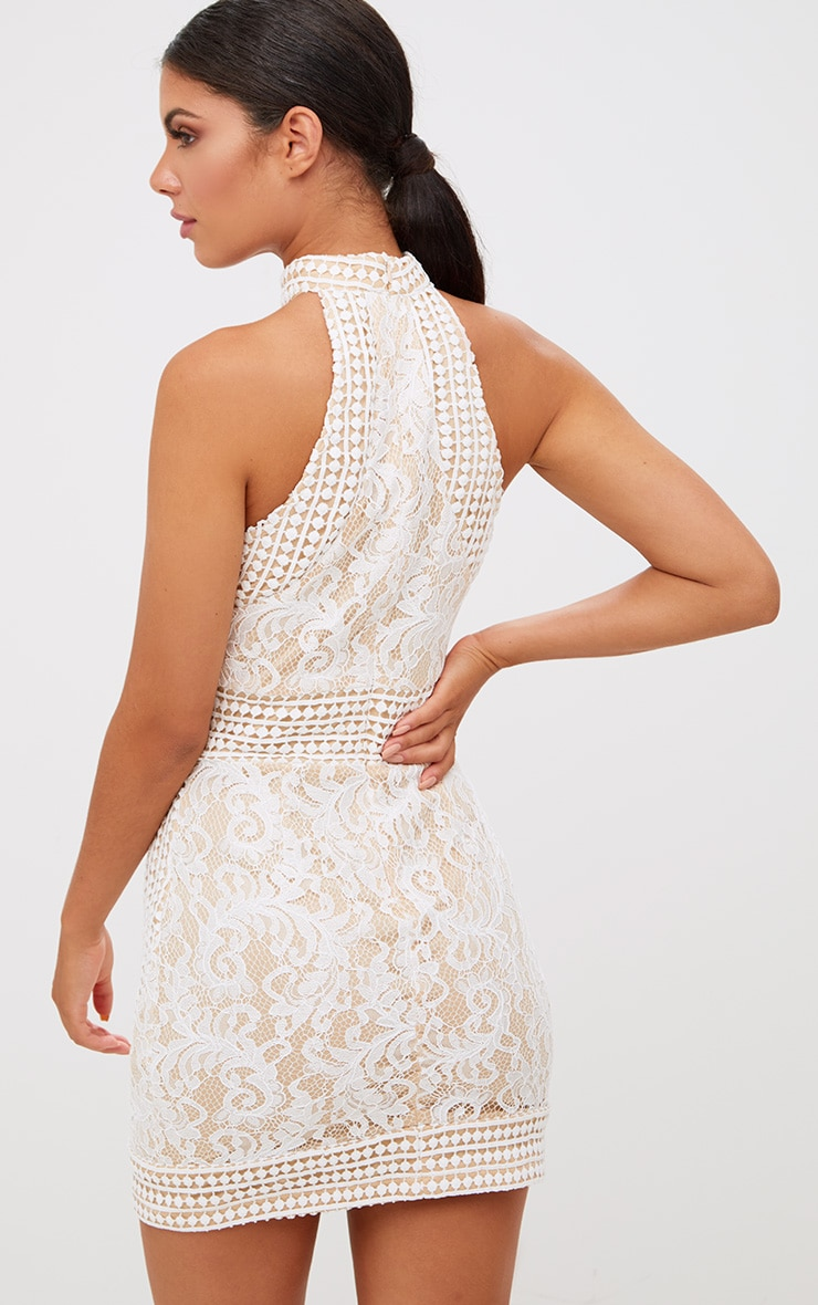 White High Neck Lace Crochet Bodycon Dress 2