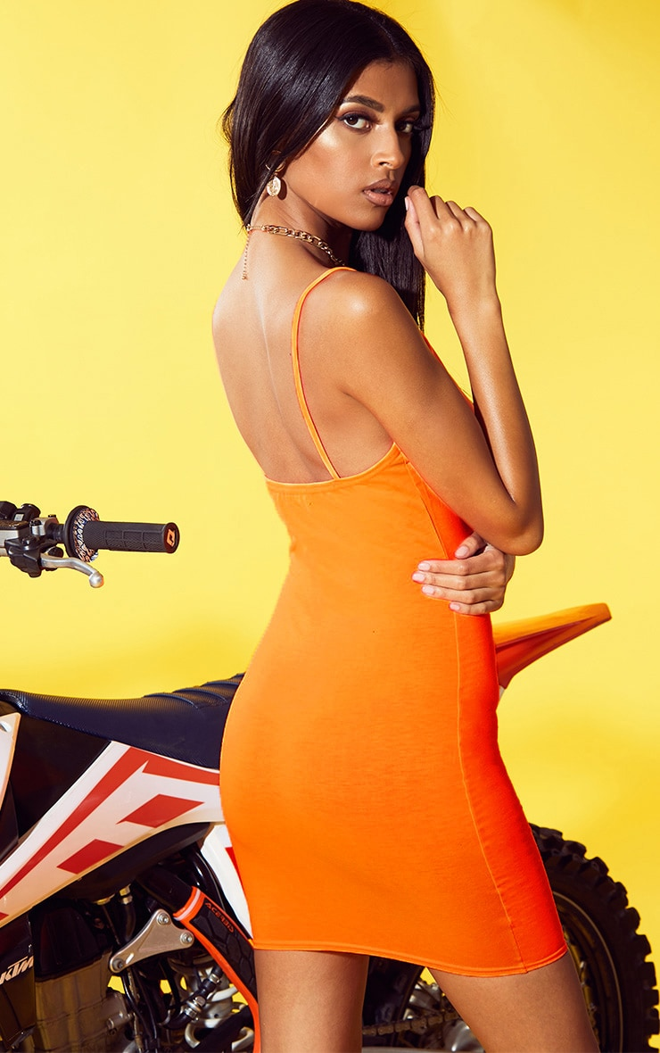 Neon Orange Strappy Extreme Plunge Bodycon Dress 2