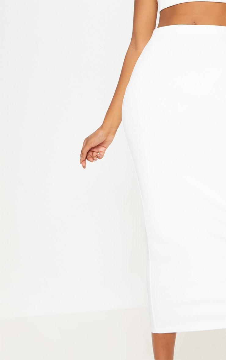 Jupe mi longue côtelée blanche
