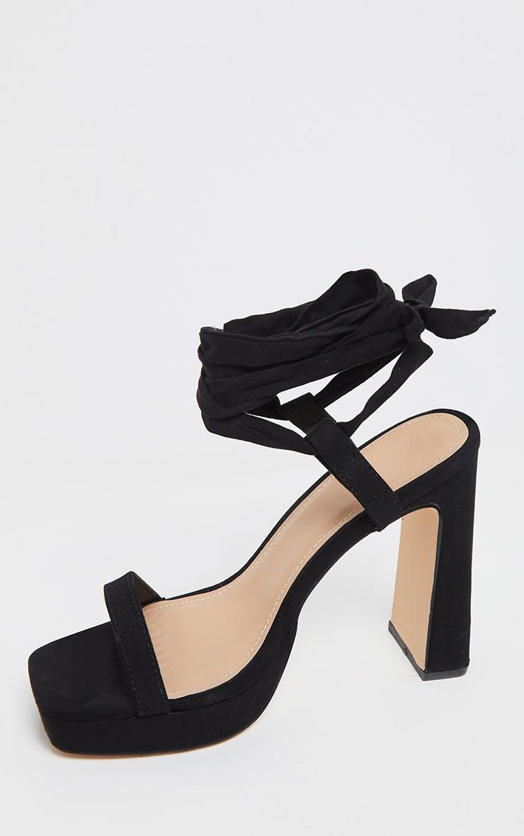 Black Ankle Lace Up High Platform Sandal 3