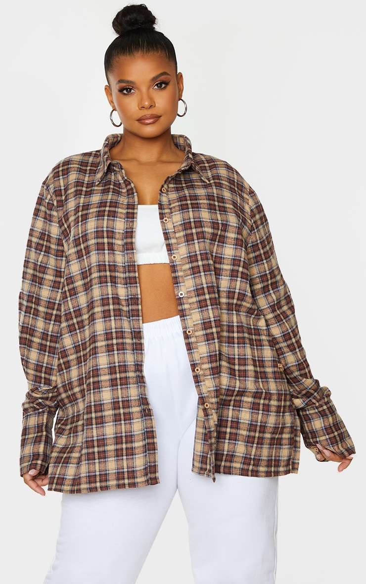 Plus Brown Checked Oversized Shirt 1