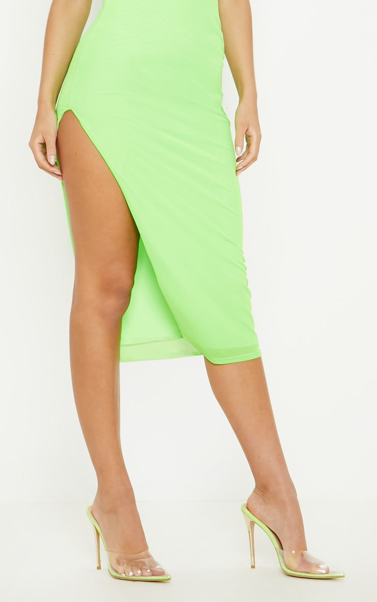 Neon Lime Mesh Split Leg Midi Dress 5
