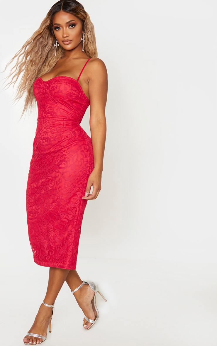Shape Red Lace Cup Detail Midi Dress 4