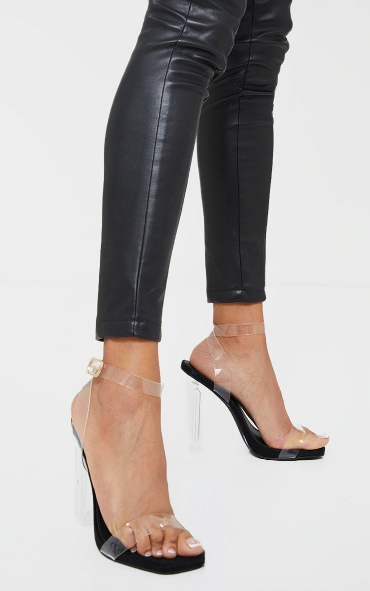Black Wide Fit Clear High Block Heel Strappy Heel Sandals 2