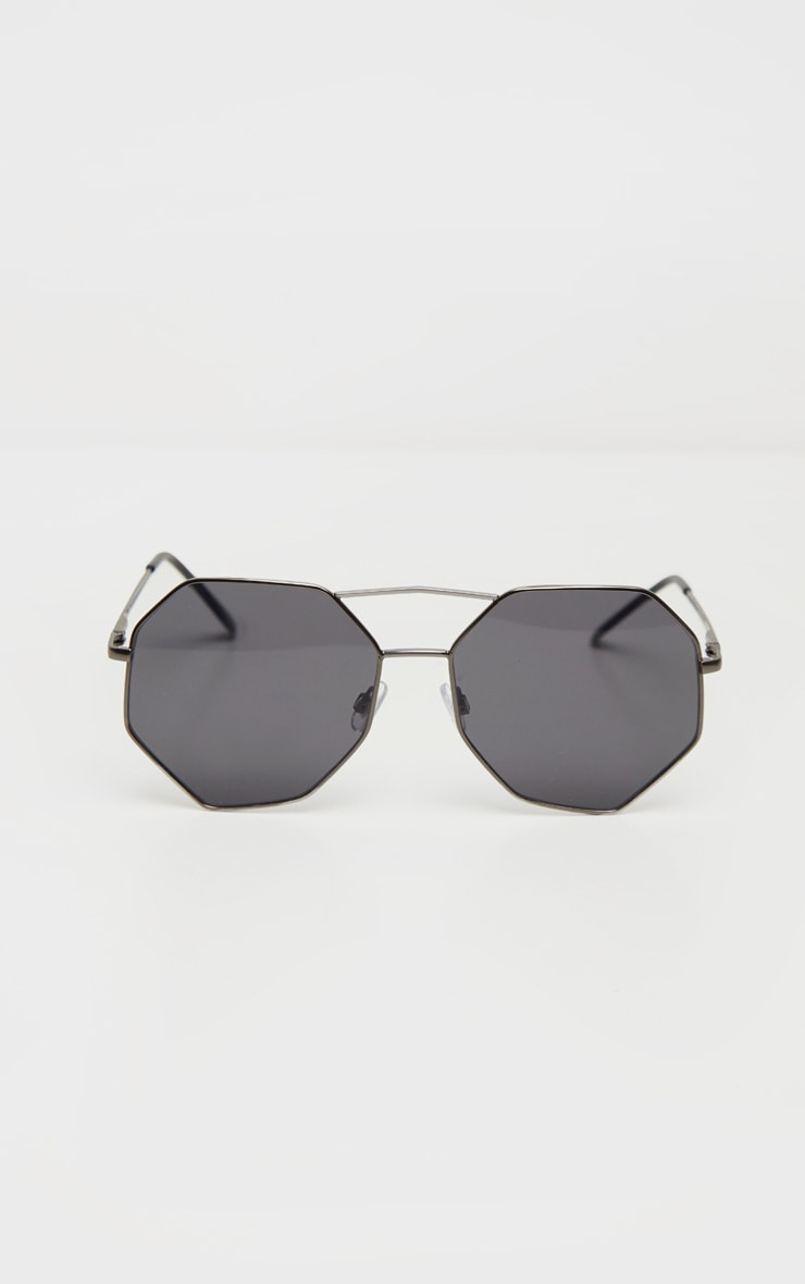 Black Hexagon Double Bar Sunglasses 3