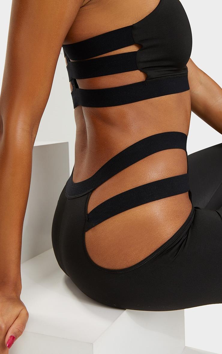 Black Strap Detail Sports Leggings 6