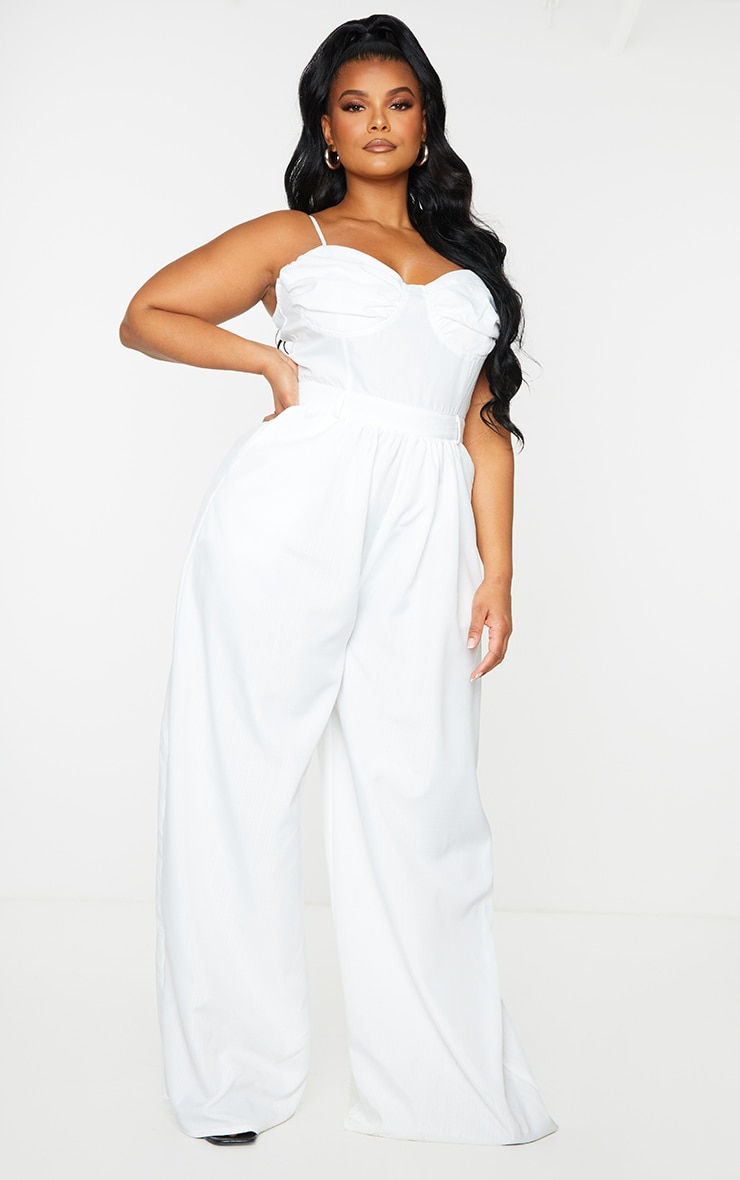 Plus White Ruched Cup Strappy Wide Leg Jumpsuit 3