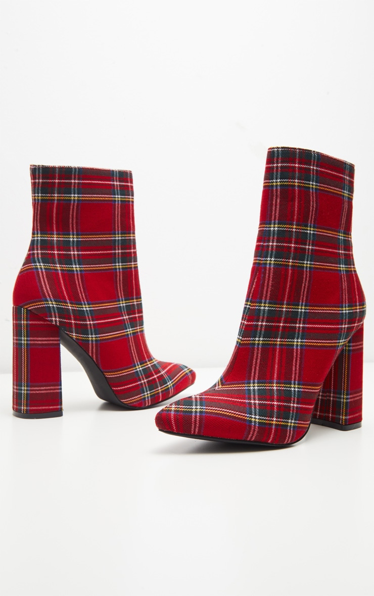 Red Check Point Block Heel Ankle Boot  3