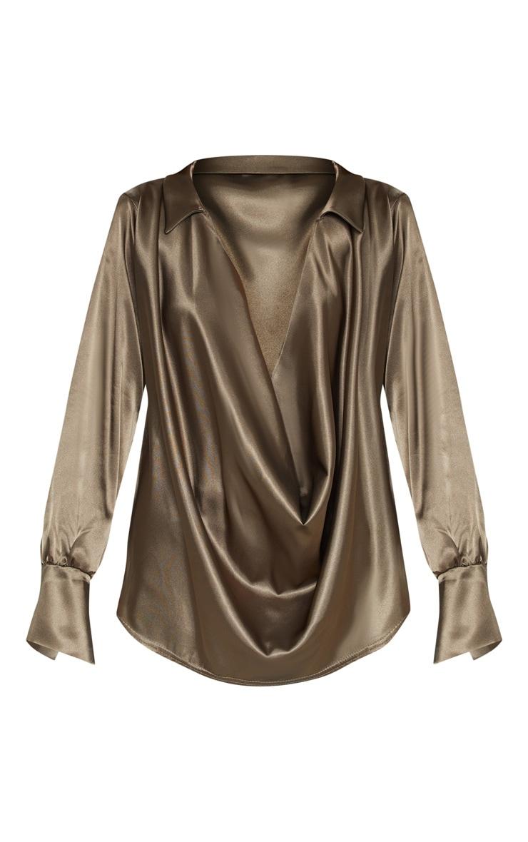 Khaki Extreme Cowl Longline Satin Shirt 3