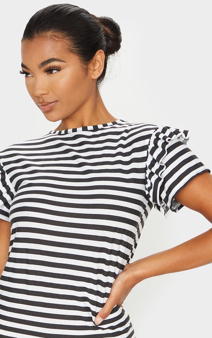 Monochrome Stripe Frill T Shirt Dress 4