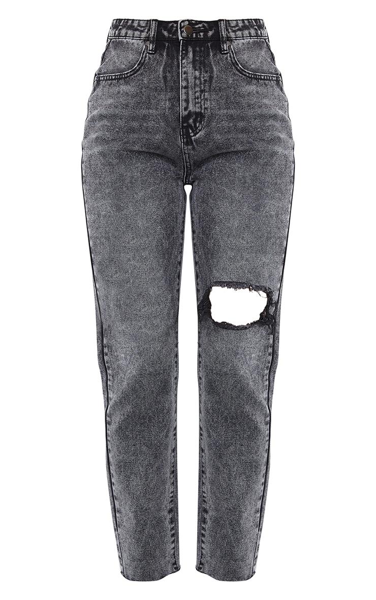 Vintage Wash Black Raw Hem Knee Rip Mom Jeans 5
