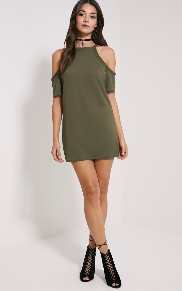 Nola Khaki Cut Out Shoulder Dress 3