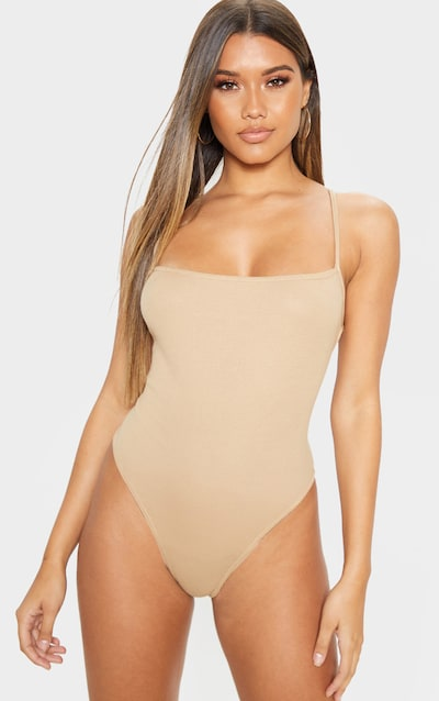 Camel Rib Strappy Back Thong Bodysuit
