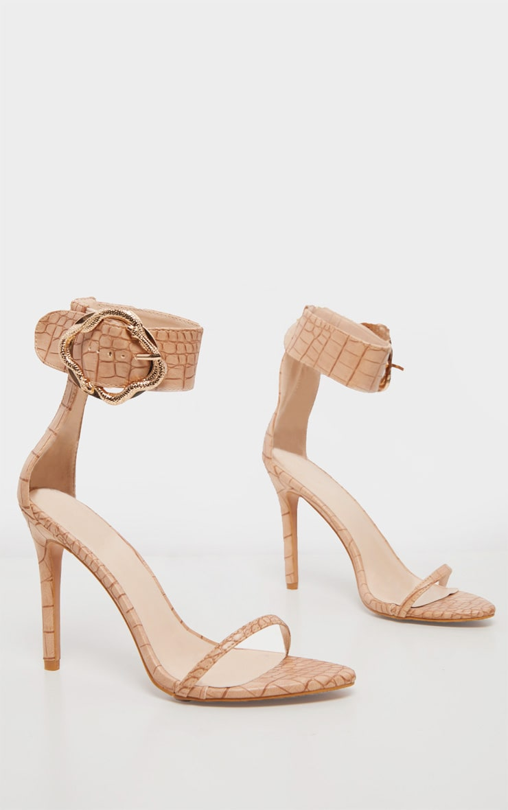 Nude Snake Buckle Strappy Sandal 3