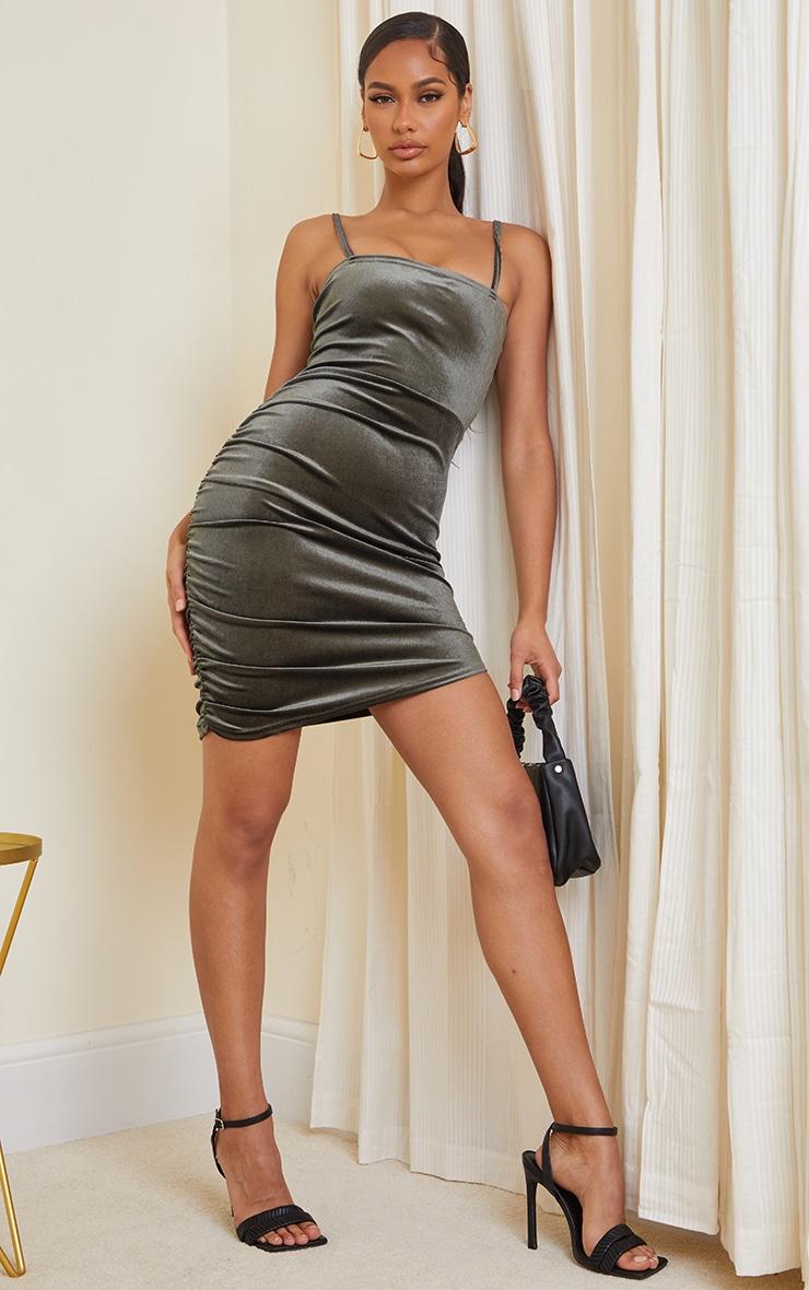 Olive Velvet Ruched Side Strappy Bodycon Dress 3