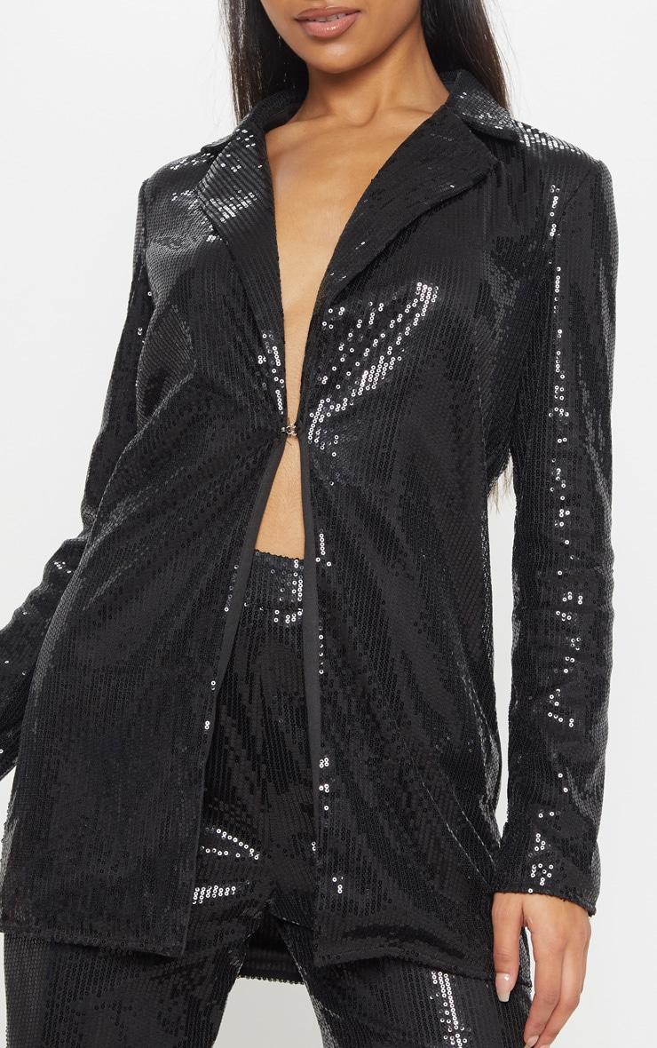 Black Sequin Longline Blazer 4