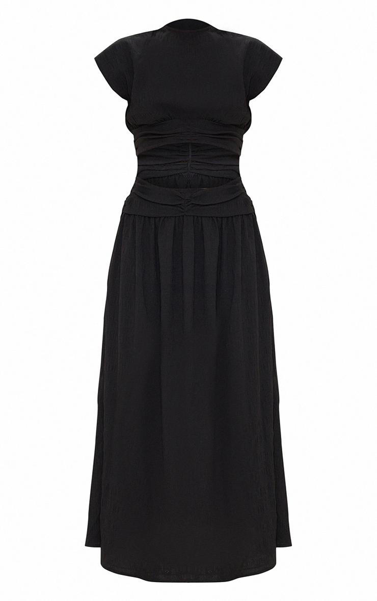 Black Textured Cut Out Ruched Waist Midaxi Dress 5