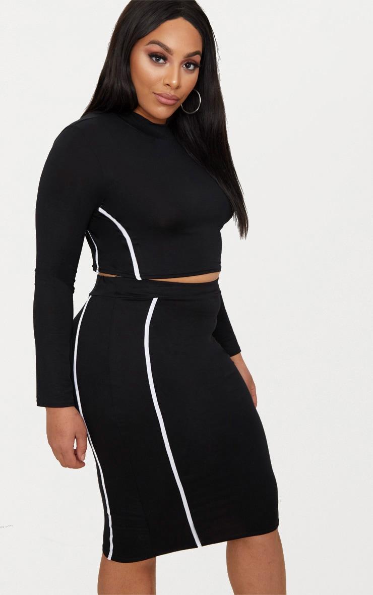 3802e399345f25 Plus Size Black Midi Skirts