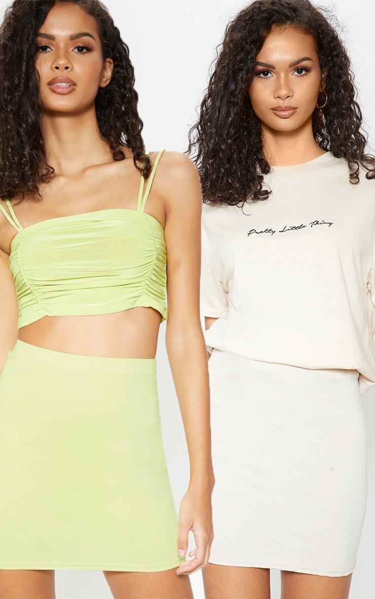 Neon Lime & Stone Basic Jersey Mini Skirt 2 Pack 1
