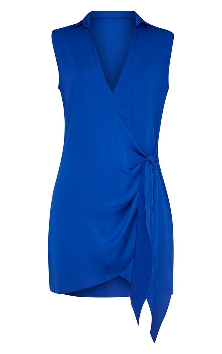 Shaylene Cobalt Sleeveless Tie Side Satin Shirt Dress 4