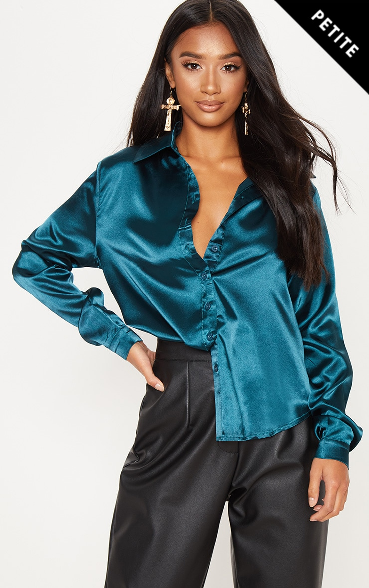 Petite Emerald Green Satin Shirt